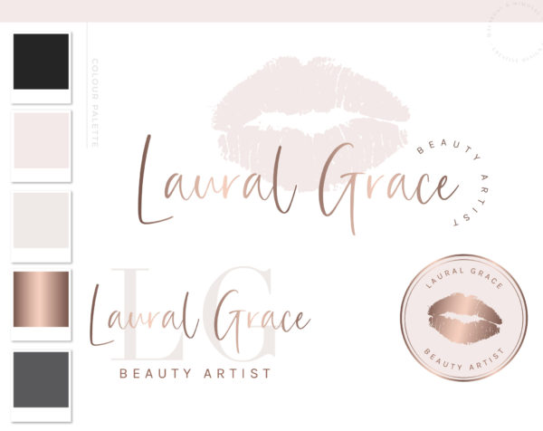 Rose Gold Lip Logo, Makeup Logo Design Branding kit, Make up Branding Package, Boutique logo, Lip sense Logo watermark, lipsense logo