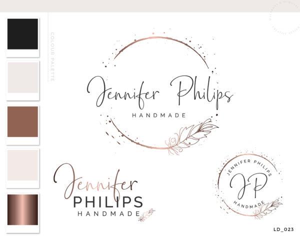 Feather Logo Design, Rose Gold Logo, Branding kit, Boho Feather Branding Package, Photography Logo Watermark, Bohemian Logo Design