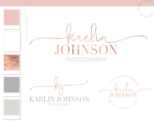 Rose gold script logo, premade rose gold blush pink logo package, handwritten script logo design