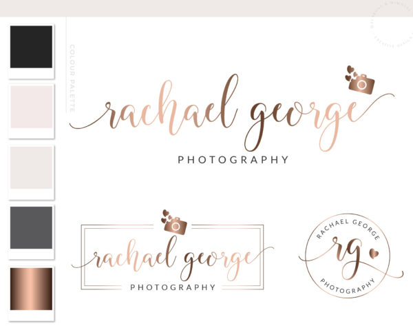 Camera Logo Design, Photography Logo Branding Kit, Custom Logo Package and Branding Watermark, Rose Gold Heart Business Logo Package