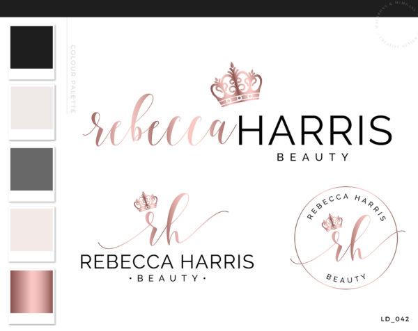 Crown Logo design, Tiara Logo Design, Branding Kit for BeautyArtists, Pink Cosmetics Beauty Logo, pink gold lashes logo branding package