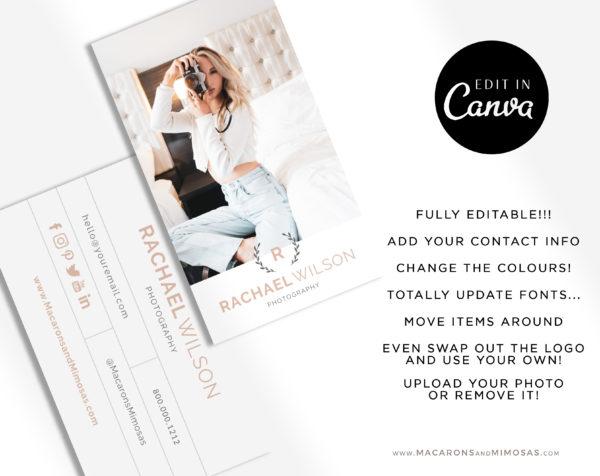 Photography Business Card Design Template, DIY Photo Business Card Template, Modern Editable Business Calling Card, Digital Company Card
