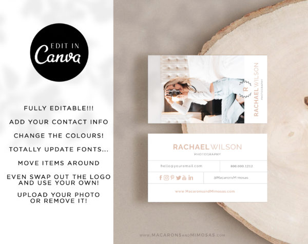 Photography Business Card Design Template, DIY Photo Business Card Template, Modern Editable Business Calling Card, Digital Company Card