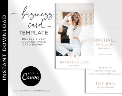 DIY Wedding Photography Business Card Template, Photo Business Card Template, Modern Editable Business Calling Card, Digital Company Card