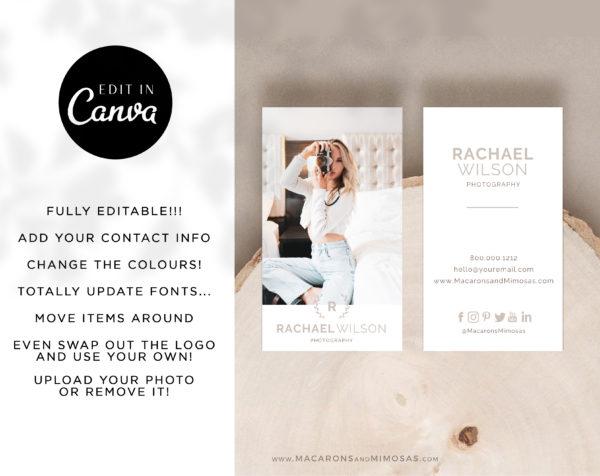 DIY Business Card Template, Photography Photo Business Card Design Template, Modern Editable Business Calling Card, Digital Company Card