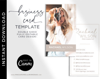DIY Business Card Template, Photography Photo Business Card Design Template, Modern Editable Business Calling Card, Digital Company Card