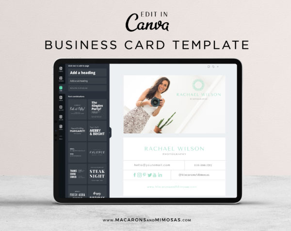 Business Card Design Template, Photography Photo Business Card Template, DIY Modern Real Estate Editable Business Calling Card, Realtor Card