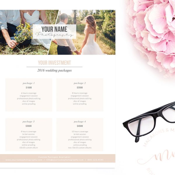 Modern Photography Price List Template
