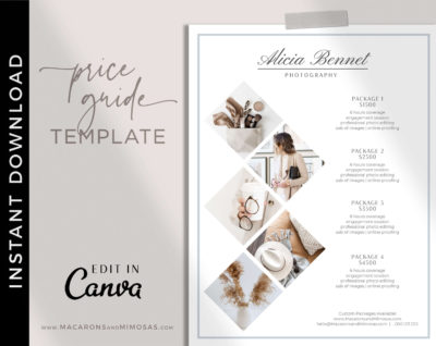 Wedding Photography Branding Pricing Guides Kit, Canva Photographer Price List, Pricing Guide Template, Wedding Photographer Branding