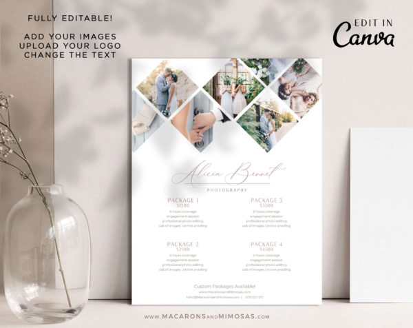Photography Pricing Guide, Canva Photographer Price List Sheet, Welcome Package Template, Wedding Photographer Business Rate Sheet