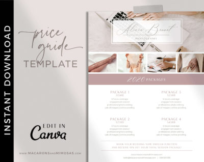 Price List, Price Menu Template, Photography Pricing Guides, Wedding Photographer Pricing Brochure Menu Template for Canva