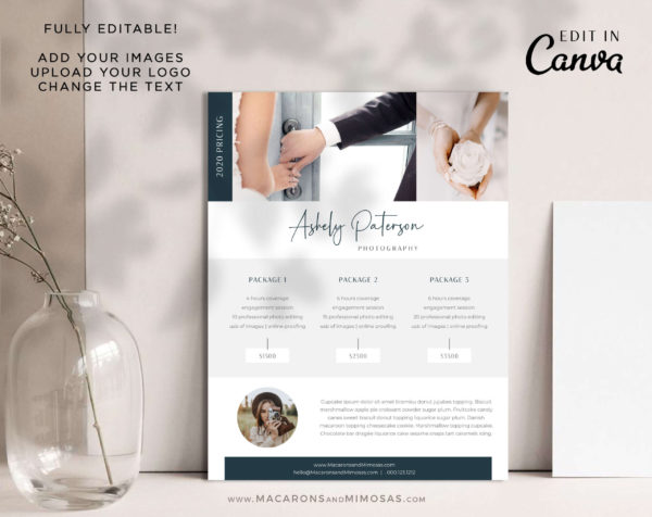 Price List, Price Menu Template, Photography Pricing Guides, Pricing Brochure Menu Wedding Photographer Template for Canva