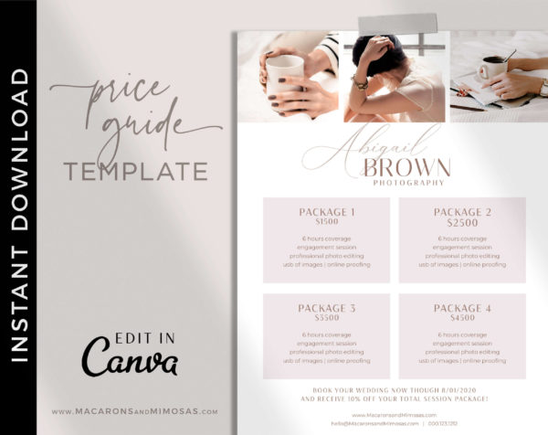 Wedding Photography Pricing Guide, Canva Photographer Price List Sheet, Welcome Package Template, Wedding Photographer Business Rate Sheet