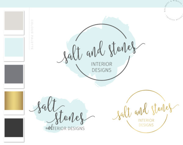 Aqua Watercolor Script Logo Design, Branding Board, Photography Premade Calligraphy Stamp, Interior Design Blogger Watermark, 001