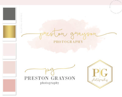 Watercolor Logo Design, Gold Logo,Logo Design, Branding kit, Calligraphy Branding Package, stamp, Photography Logo, Watermark, Modern Logo