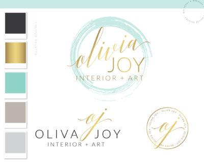 Watercolor Logo Script Calligraphy Aqua, Custom Logo Design, Boutique Blogger Watermark Stamp, Photography logo, Chic Branding Board, 027