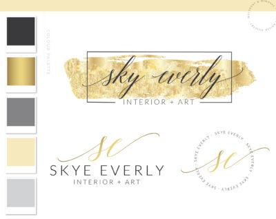 Gold Watercolor Logo, premade logo design, Photography Branding package, logo watermark, Calligraphy Stamp, Branding Kit, 028