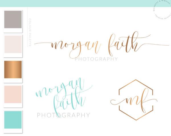 Teal Honeycomb Calligraphy Watercolor, Photography Branding Kit Logo Design, Rose Gold Blush, Premade Submark Watermark Stamp, 032