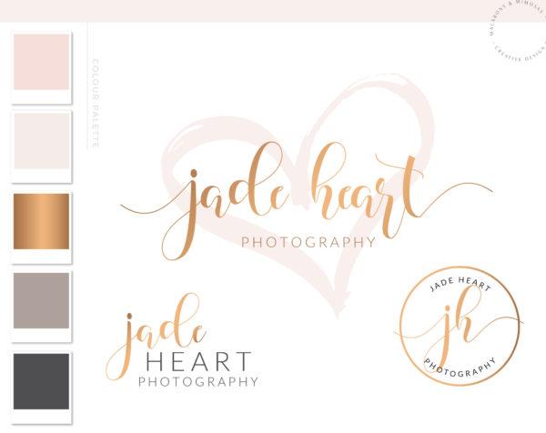Watercolor Heart Branding Kit, branding package, Logo design, business logo design, branding, photography premade logo, wedding 033