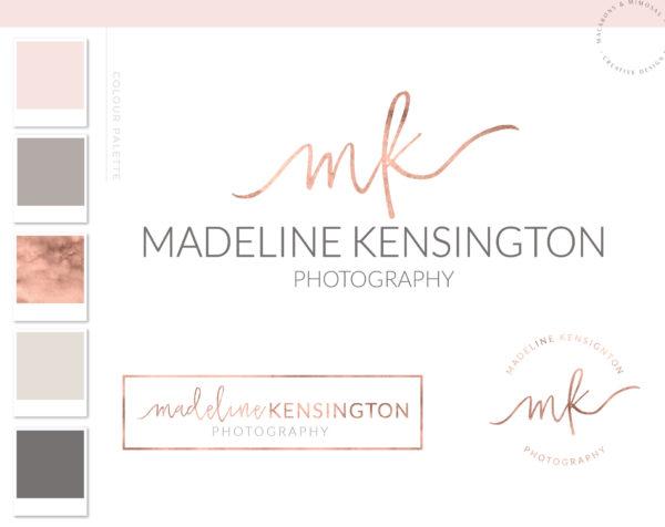 Watercolor Logo Design, Custom Logo design, Rose Gold Photography logo Branding Kit, branding package, Stamp watermark boutique logo 034