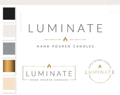 Candle Logo Design, Decor Wick Candle Boutique Logo Branding Package, Hand Poured Luxe Wax Brand Design, Spiritual Flame Label logo