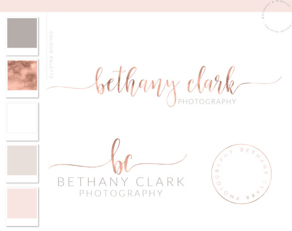 Photography Brand Package, Rose Gold Photographer Logo Kit, Custom Logo, Premade marketing package, Stamp watermark Calligraphy