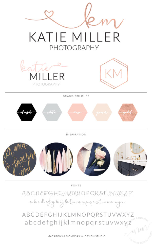 Rosegold Heart Calligraphy Photography Logo