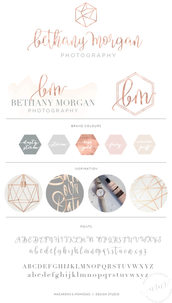 Rose Gold Hexagon Branding Kit Photography Logo