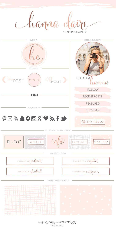 Watercolor Brush Stroke Pink Rose Gold Boutique Logo Makeover + Branding Kit + Blog Kit // Website Design Kit // Business Stationery
