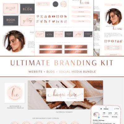 Website Blog Template Kit, Ultimate Branding Kit, Premade website elements, Website Social Media Package