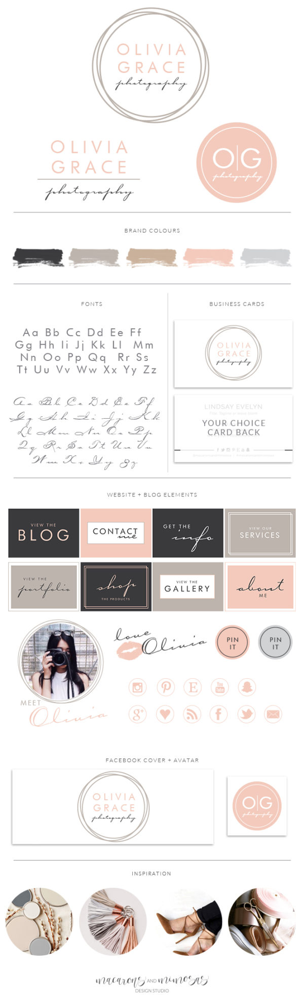 Blush Circle Script Photography Logo, Boutique Calligraphy Branding Board, Premade Branding Logo Kit, Custom Logo Design, 013