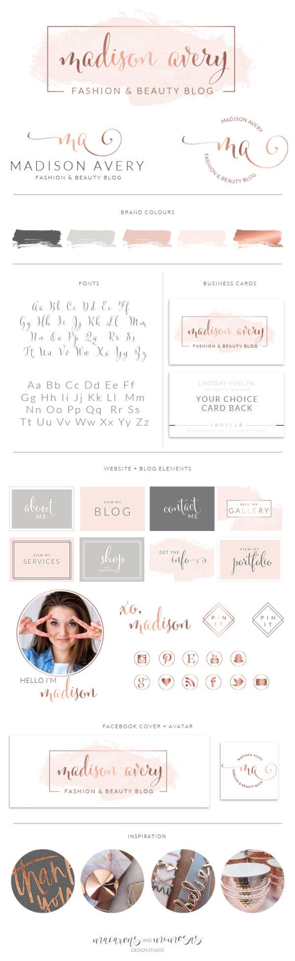 Watercolor Logo Design, circle dot premade logo, Custom Logo design, Rose Gold Photography Branding Kit, Premade branding package, Blog Stamp watermark