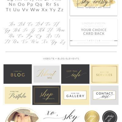 Gold Foil Brush Stroke Watercolor Logo, Photographer Branding Board, Script Calligraphy Stamp, Premade Boutique Branding Kit, 028