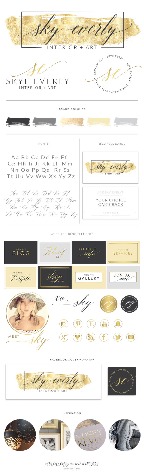 Gold Foil Brush Stroke Watercolor Logo, Photographer Branding Board, Script Calligraphy Stamp, Premade Boutique Branding Kit, 028