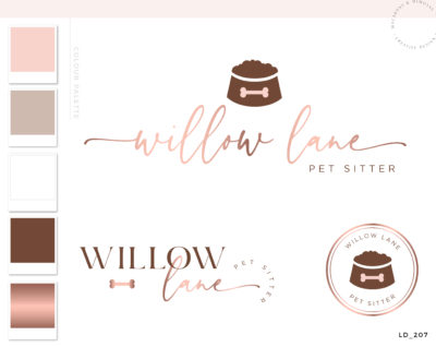 Dog Walking Logo Design with dog bowl and bone for pet sitters, dog walkers, salons nad more Rose gold and Pink by Macarons and Mimosas