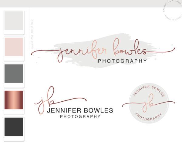 Rose Gold Wedding Photography Logo Branding Kit, Blush Wedding Planner Marketing Set, Handwritten Stamp Photo Watermark Boutique, 009