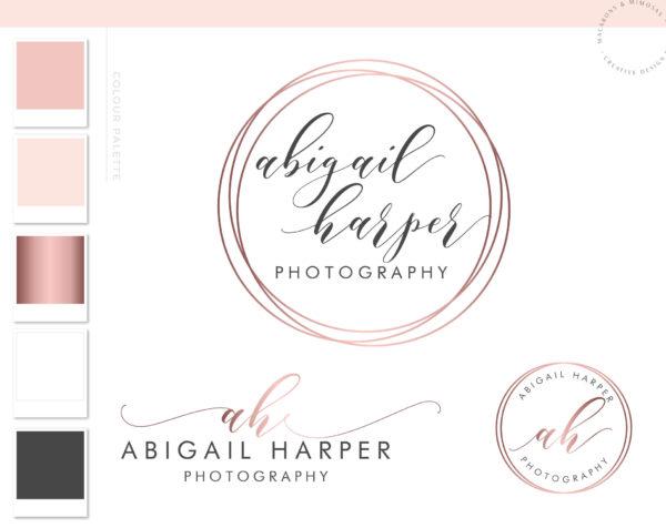 Pink Rose Gold Double Circle logo, Photography Logo Kit, Photographer Branding Package, Blog Logo Design, Premade Initial Logo Design, Feminine Simple watermark Logo