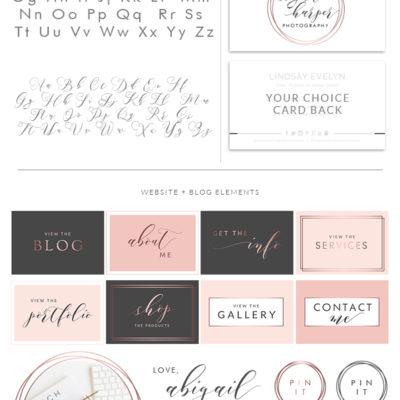 Photography Logo Kit, Photographer Branding Package, Blog Logo Design, Premade Initial Logo Design, Feminine Simple watermark Logo