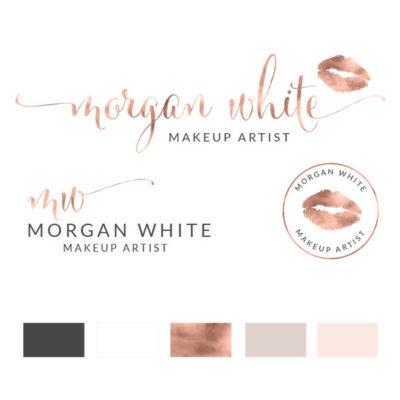 Premade Logo Design, Watercolor Logo, Feminine Logo, Beauty Logo, Makeup Artist Logo, Hair Stylist Logo, Lipstick Logo, Makeup Logo