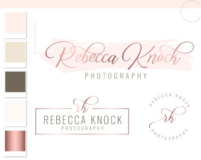 Watercolor Logo Design, circle dot premade logo, Custom Logo design, Rose Gold Photography Branding Kit, Premade branding package, Blog Stamp watermark