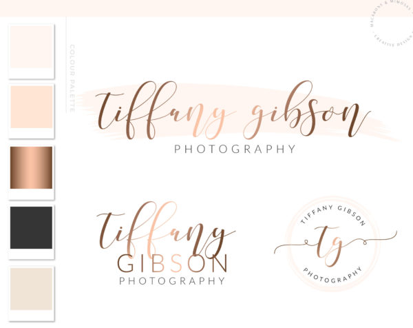 Modern calligraphy logo design, handwritten premade branding package, rose gold social icons, custom blog signature, pin it button package, website builder kit, wix blog package design