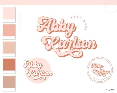 Boho Logo Design, Premade Boho Logo, Branding Kit, Retro Website Design Template, Pink Photography Logo Design, Pretty Logo Design