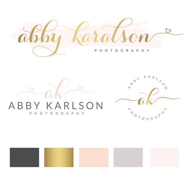 heart logo design, pink watercolor premade logo, gold blush pink branding board, heart photography logo package