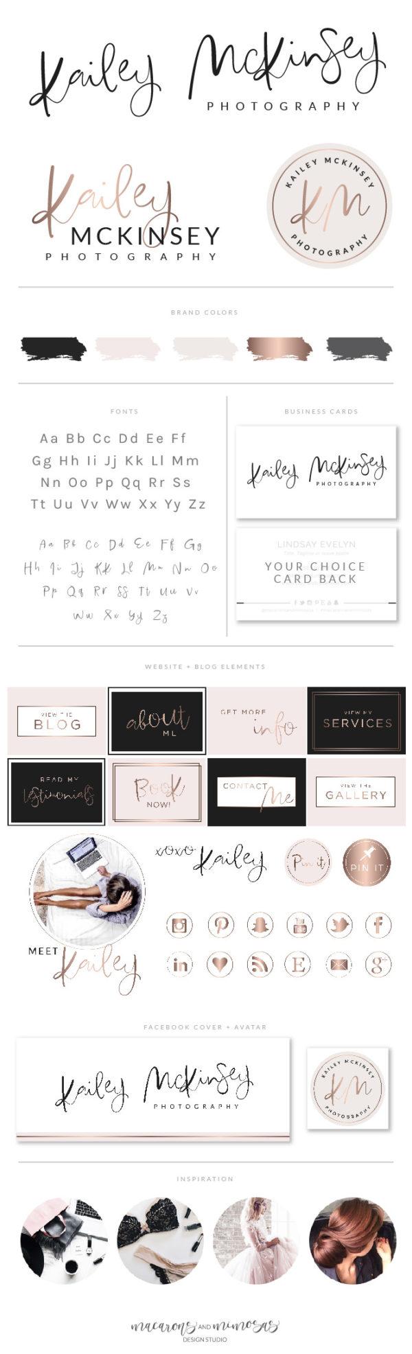 modern calligraphy logo branding package, branding board design, Modern script handwritten logo design, rose gold logo design, photography premade logo design, photographer branding package