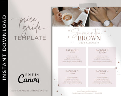 Photography Pricing Template, Photography Price List, Photography Price Sheet, Photographer Pricing, Canva Template, Pricing Guide