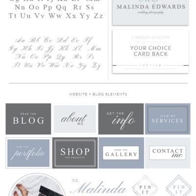 Wedding Photography Logo, blue silver premade logo design, photography logo branding set, watermark photography logo