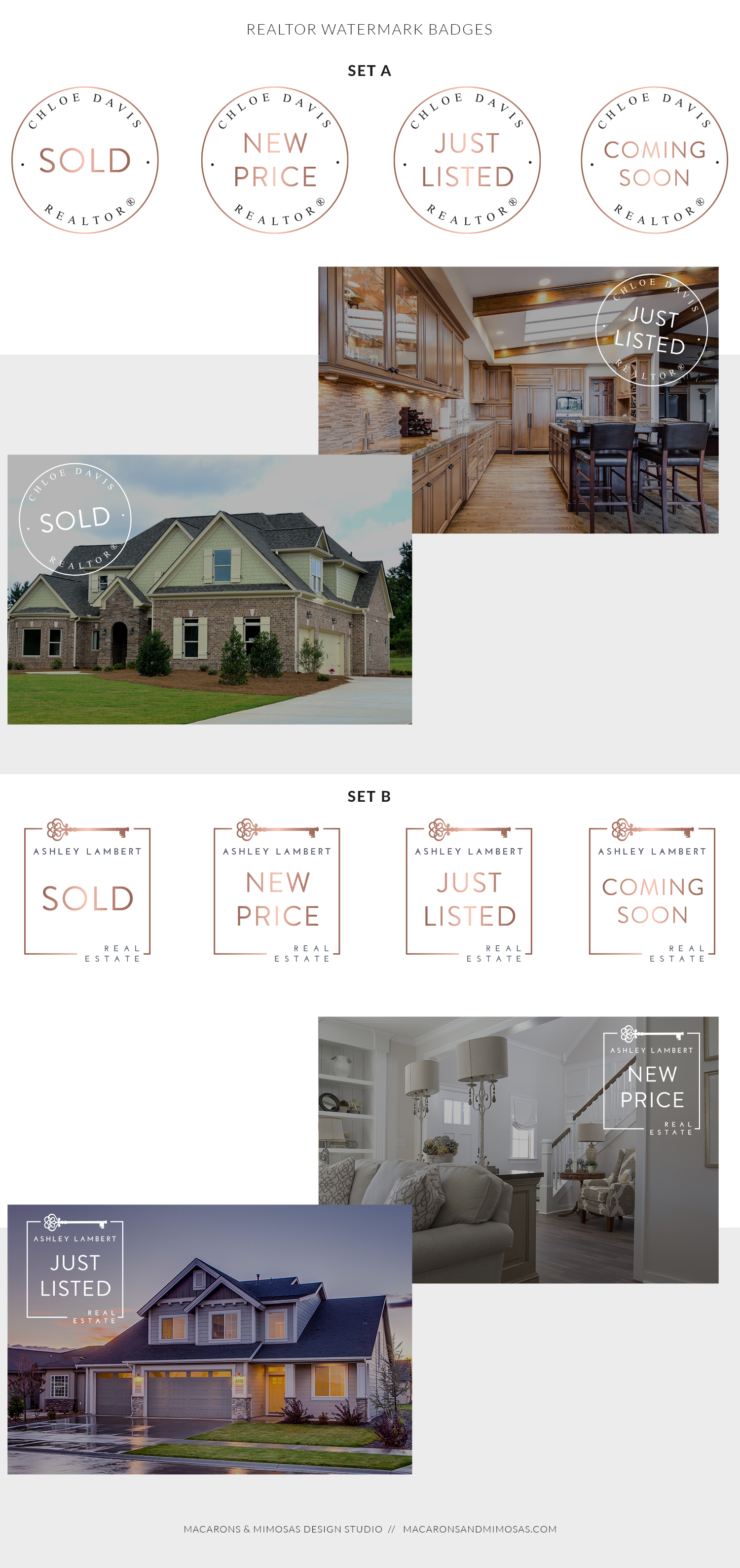 Realtor watermark badges, real estate sold sign graphic, realtor website graphics, just listed watermarks, coming soon watermark badges