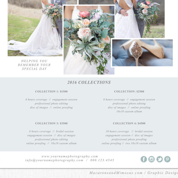Photography Pricing Sheet Template - Price List Guide - Wedding Photographer Photo Print Investment Collections