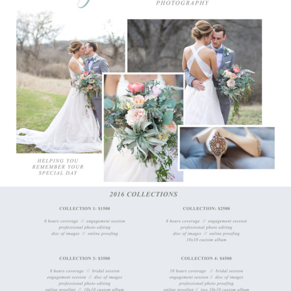 Photography Price List - Pricing List for Photographers - Price Sheet - Package Price List