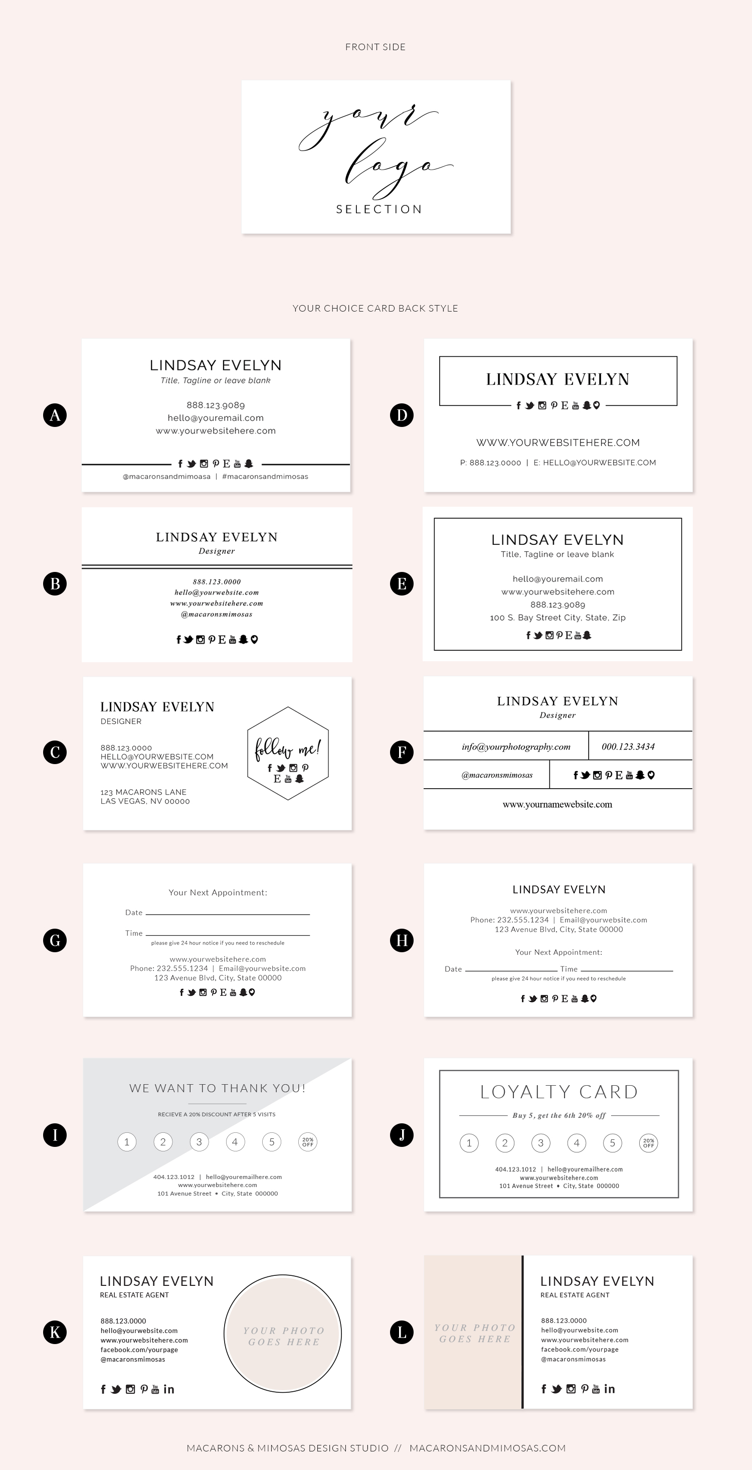 Danielle marie package macarons and mimosas business card design custom business card design premade business card zazzle business cards reheart Choice Image